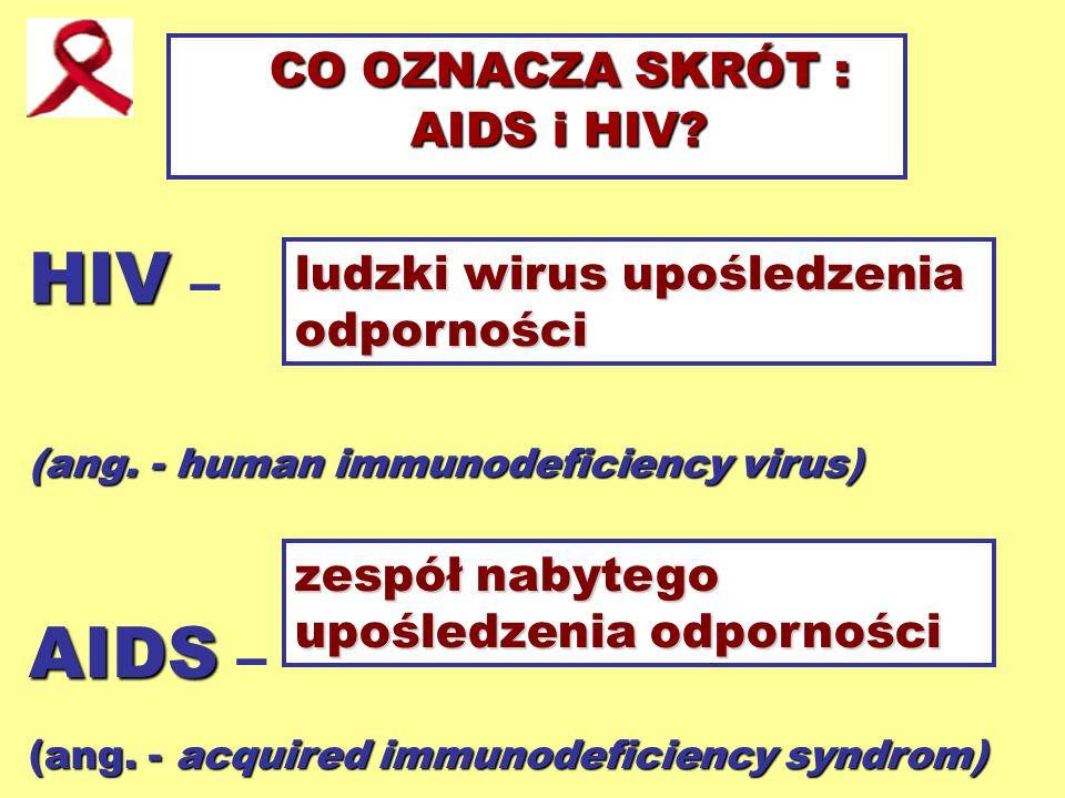 CO OZNACZA SKRÓT : AIDS i HIV