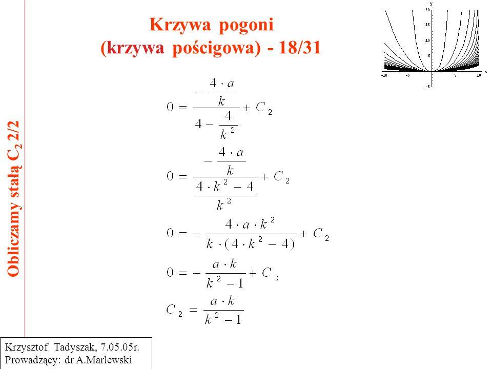 Krzywa pogoni (krzywa pościgowa) - 18/31