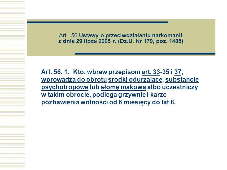 Art. 56 Ustawy o przeciwdziałaniu narkomanii z dnia 29 lipca 2005 r