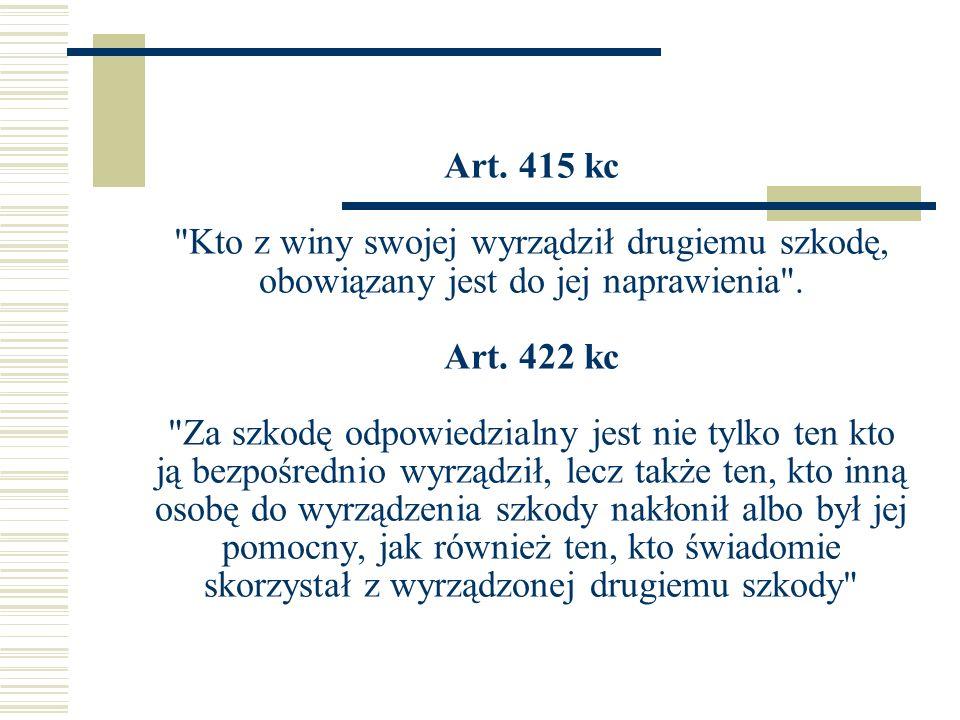 Art. 415 kc Kto z winy swojej wyrządził drugiemu szkodę, obowiązany jest do jej naprawienia .