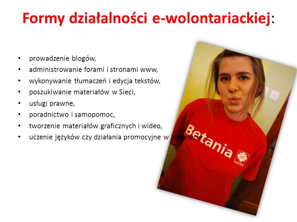 Formy działalności e-wolontariackiej: