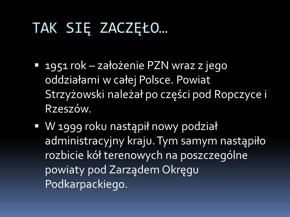 TAK SIĘ ZACZĘŁO…1951 rok – założenie PZN wraz z jego oddziałami w całej Polsce. Powiat Strzyżowski należał po części pod Ropczyce i Rzeszów.