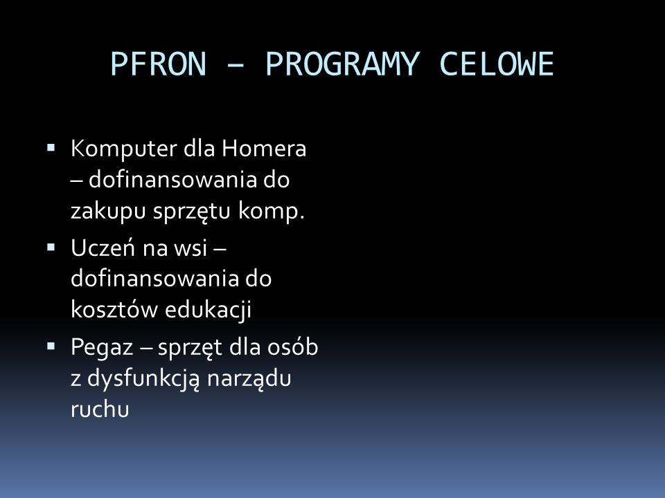 PFRON – PROGRAMY CELOWE