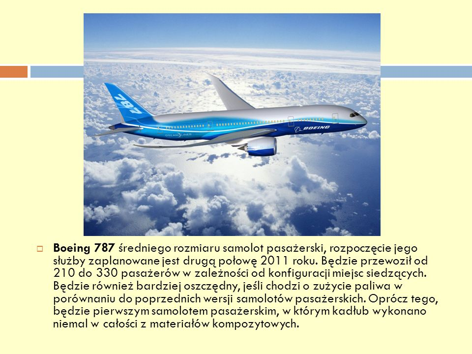 Boeing 787 średniego rozmiaru samolot pasażerski, rozpoczęcie jego służby zaplanowane jest drugą połowę 2011 roku.
