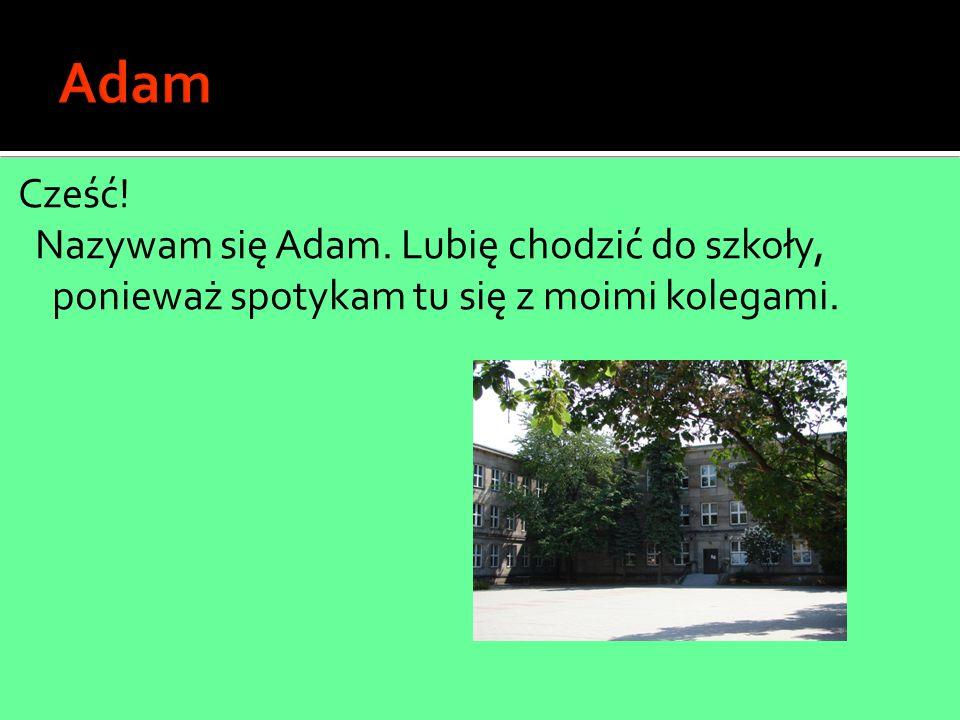 Adam Cześć! Nazywam się Adam. Lubię chodzić do szkoły, ponieważ spotykam tu się z moimi kolegami.