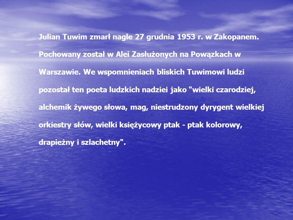 Julian Tuwim zmarł nagle 27 grudnia 1953 r. w Zakopanem.