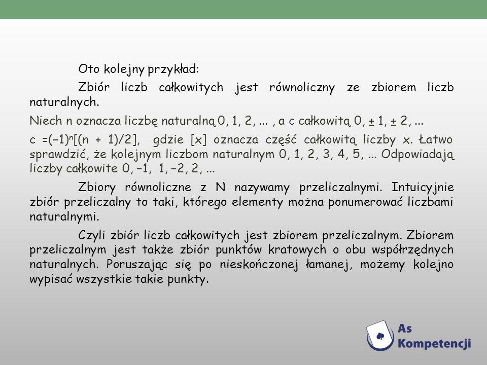 Oto kolejny przykład: Zbiór liczb całkowitych jest równoliczny ze zbiorem liczb naturalnych.