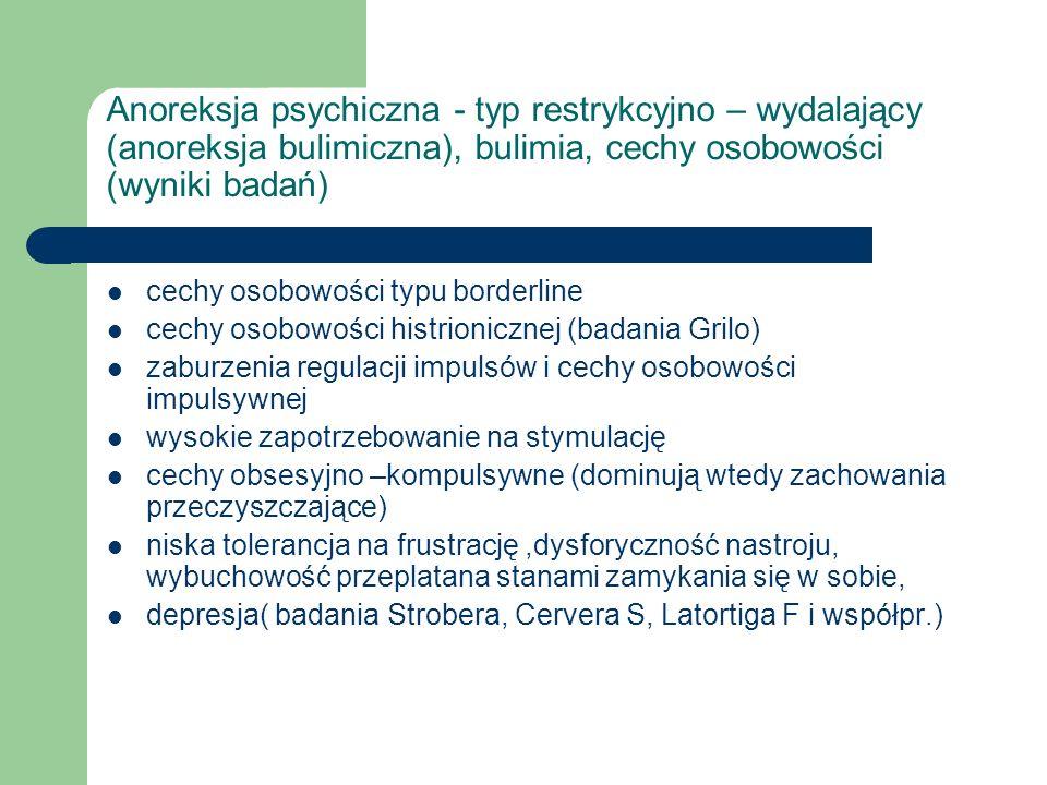 Anoreksja psychiczna - typ restrykcyjno – wydalający (anoreksja bulimiczna), bulimia, cechy osobowości (wyniki badań)