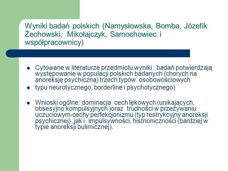 Wyniki badań polskich (Namysłowska, Bomba, Józefik Żechowski, Mikołajczyk, Samochowiec i współpracownicy)