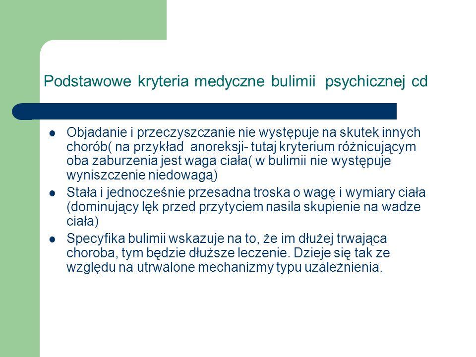 Podstawowe kryteria medyczne bulimii psychicznej cd