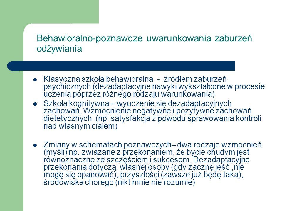 Behawioralno-poznawcze uwarunkowania zaburzeń odżywiania