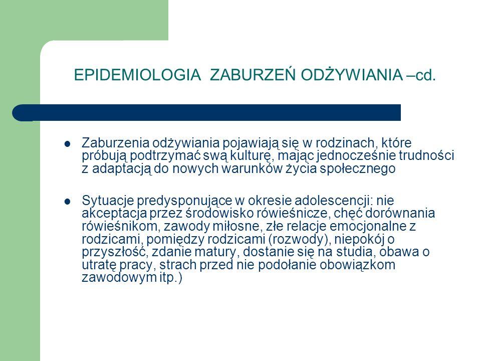 EPIDEMIOLOGIA ZABURZEŃ ODŻYWIANIA –cd.