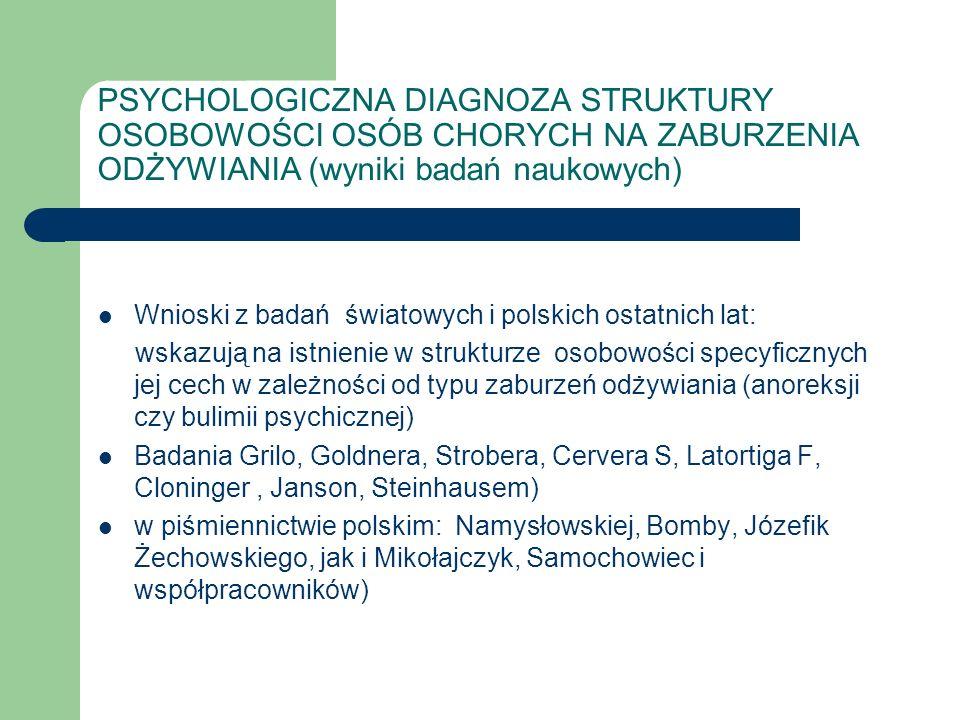 PSYCHOLOGICZNA DIAGNOZA STRUKTURY OSOBOWOŚCI OSÓB CHORYCH NA ZABURZENIA ODŻYWIANIA (wyniki badań naukowych)