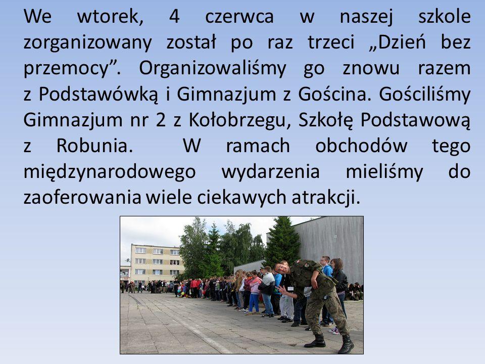 """We wtorek, 4 czerwca w naszej szkole zorganizowany został po raz trzeci """"Dzień bez przemocy ."""