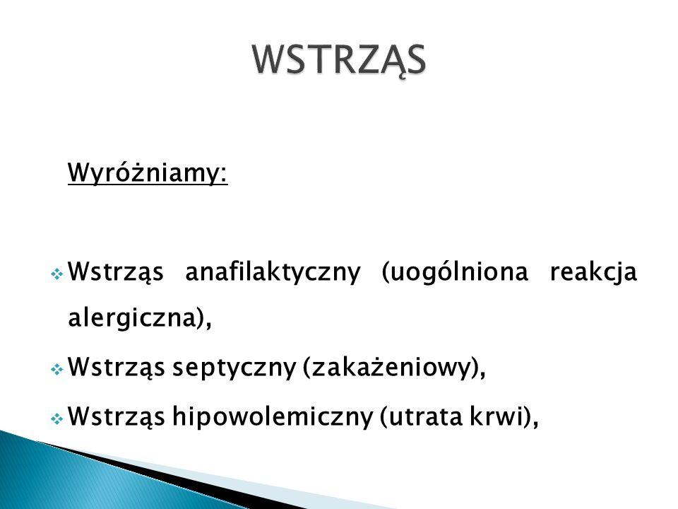 WSTRZĄS Wyróżniamy: Wstrząs anafilaktyczny (uogólniona reakcja alergiczna), Wstrząs septyczny (zakażeniowy),