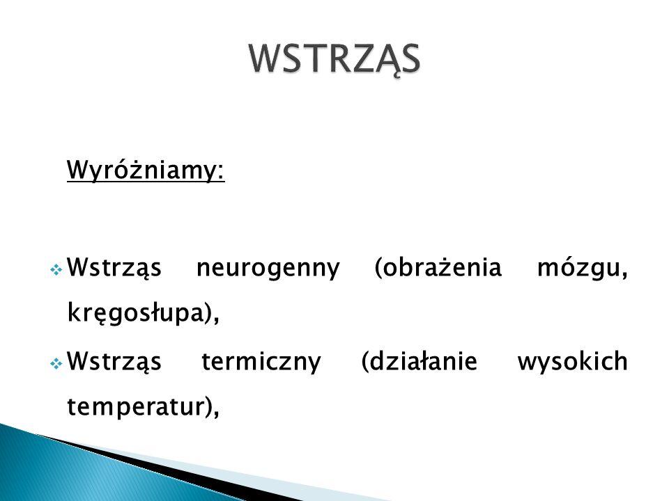 WSTRZĄS Wyróżniamy: Wstrząs neurogenny (obrażenia mózgu, kręgosłupa),