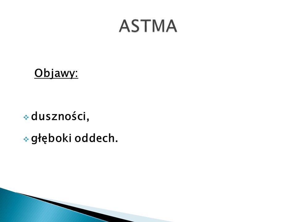 ASTMA Objawy: duszności, głęboki oddech.