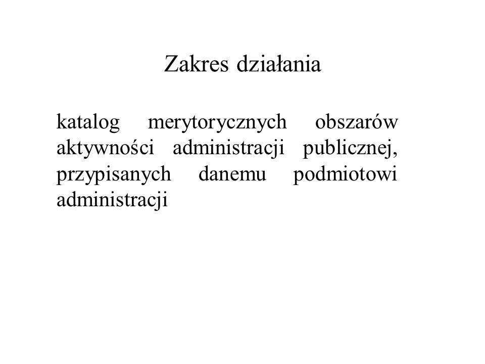 Zakres działania katalog merytorycznych obszarów aktywności administracji publicznej, przypisanych danemu podmiotowi administracji.