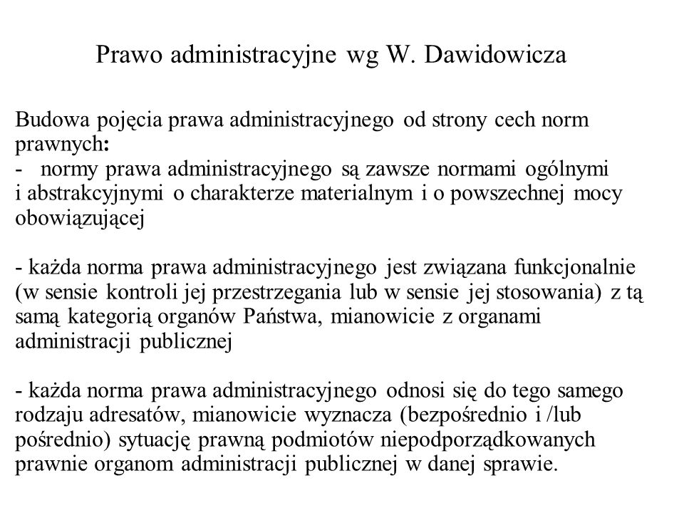 Prawo administracyjne wg W. Dawidowicza