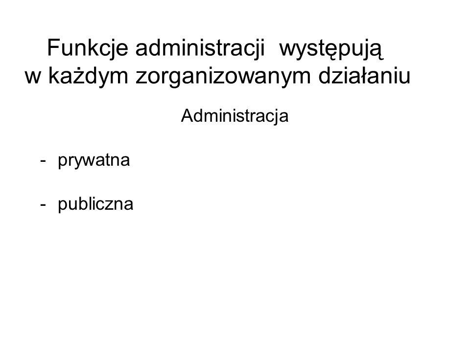 Funkcje administracji występują w każdym zorganizowanym działaniu