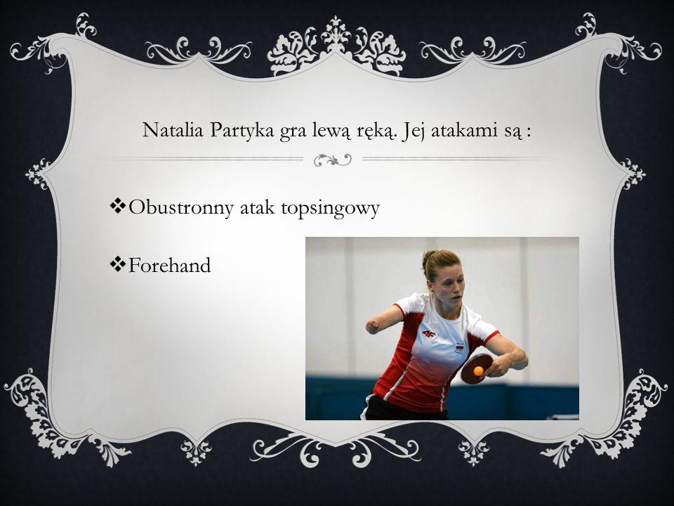 Natalia Partyka gra lewą ręką. Jej atakami są :