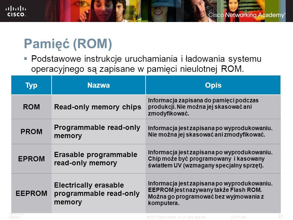 Pamięć (ROM) Podstawowe instrukcje uruchamiania i ładowania systemu operacyjnego są zapisane w pamięci nieulotnej ROM.
