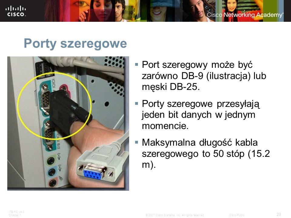 Porty szeregowe Port szeregowy może być zarówno DB-9 (ilustracja) lub męski DB-25. Porty szeregowe przesyłają jeden bit danych w jednym momencie.