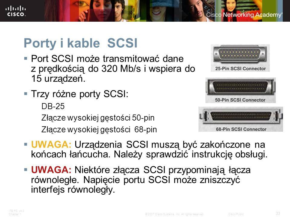 Porty i kable SCSI Port SCSI może transmitować dane z prędkością do 320 Mb/s i wspiera do 15 urządzeń.
