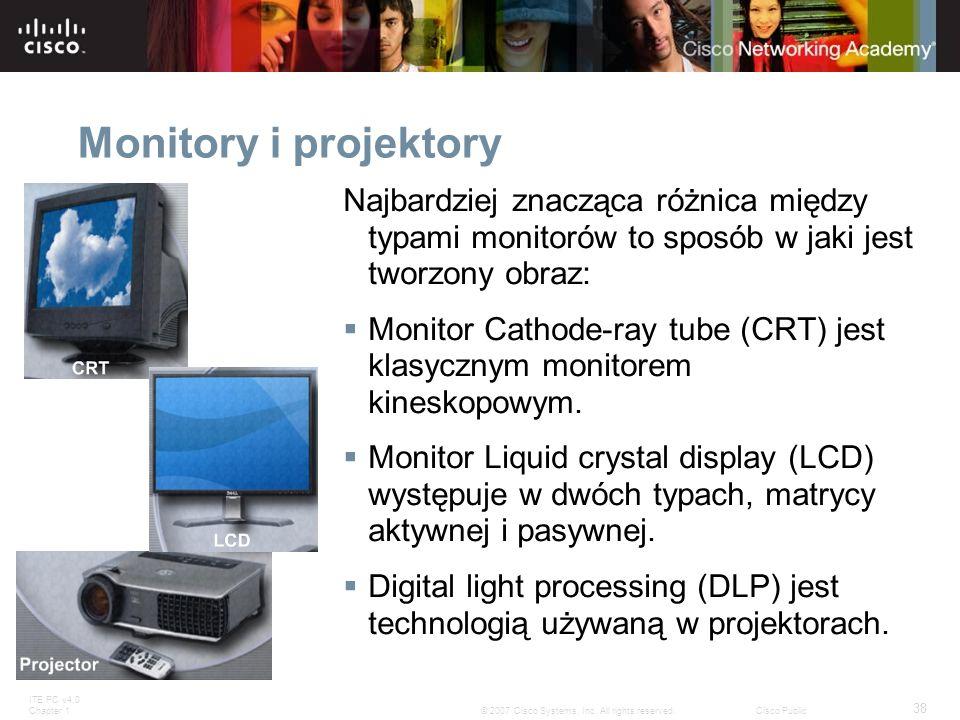Monitory i projektory Najbardziej znacząca różnica między typami monitorów to sposób w jaki jest tworzony obraz: