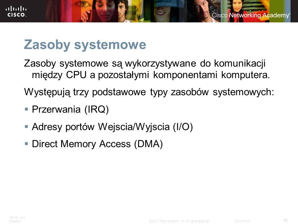 Zasoby systemowe Zasoby systemowe są wykorzystywane do komunikacji między CPU a pozostałymi komponentami komputera.