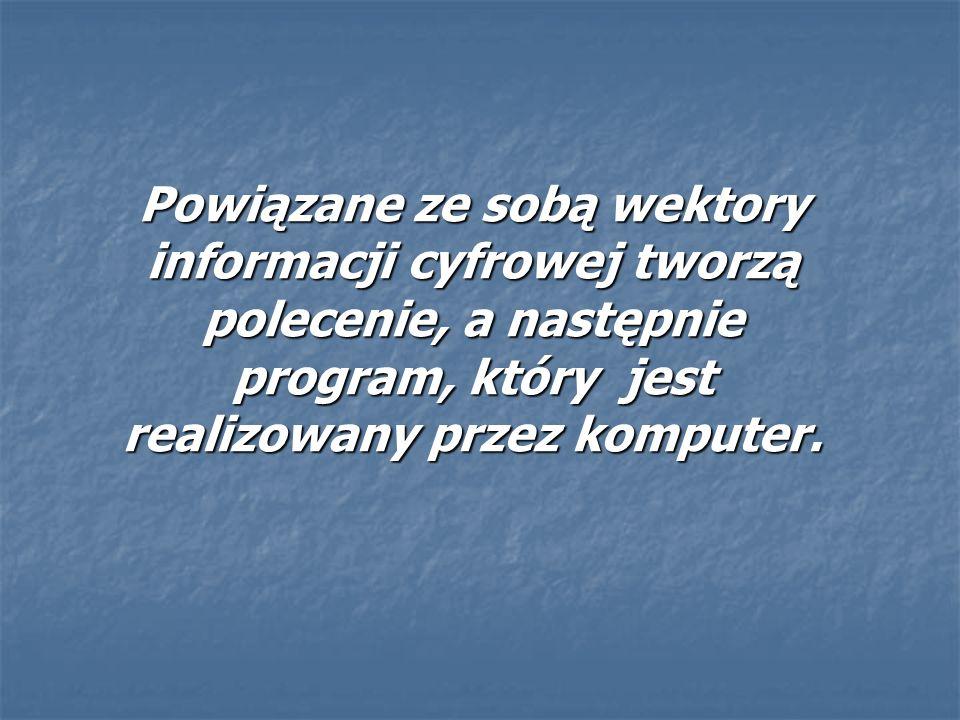 Powiązane ze sobą wektory informacji cyfrowej tworzą polecenie, a następnie program, który jest realizowany przez komputer.