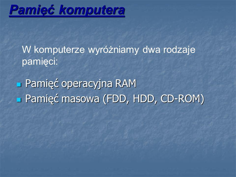 Pamięć komputera Pamięć operacyjna RAM