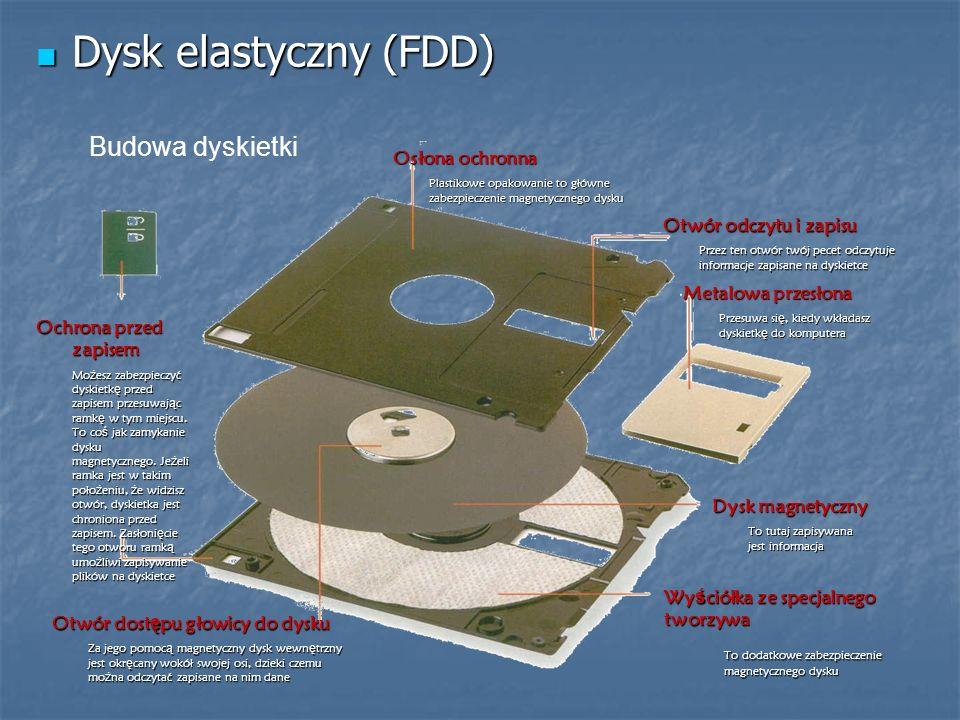 Dysk elastyczny (FDD) Budowa dyskietki Osłona ochronna