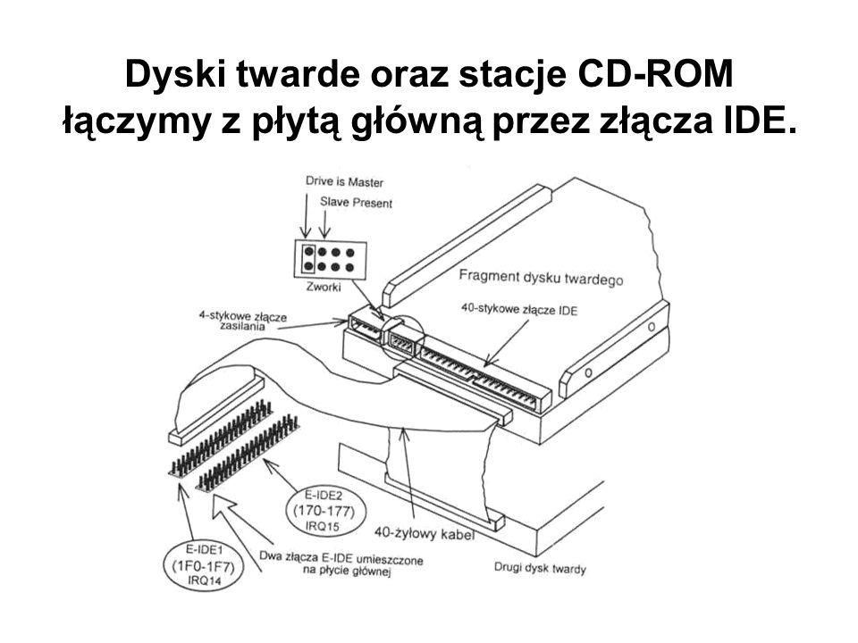 Dyski twarde oraz stacje CD-ROM łączymy z płytą główną przez złącza IDE.