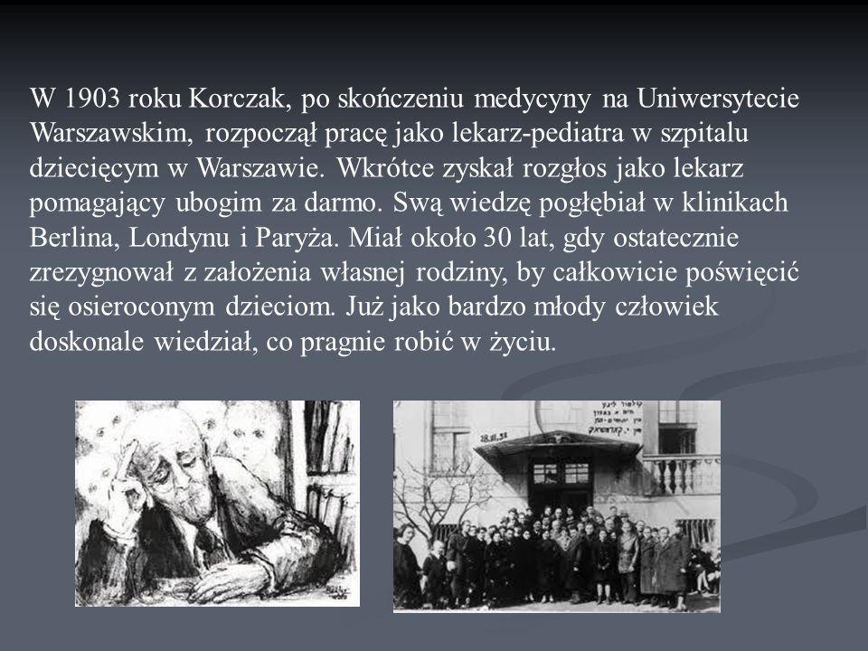 W 1903 roku Korczak, po skończeniu medycyny na Uniwersytecie Warszawskim, rozpoczął pracę jako lekarz-pediatra w szpitalu dziecięcym w Warszawie.