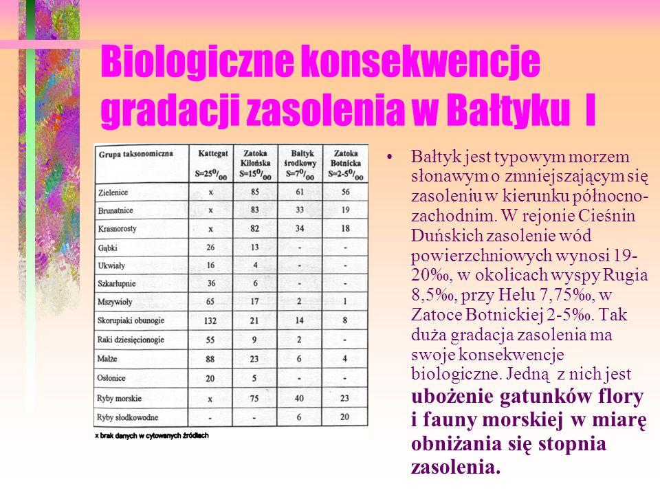Biologiczne konsekwencje gradacji zasolenia w Bałtyku I