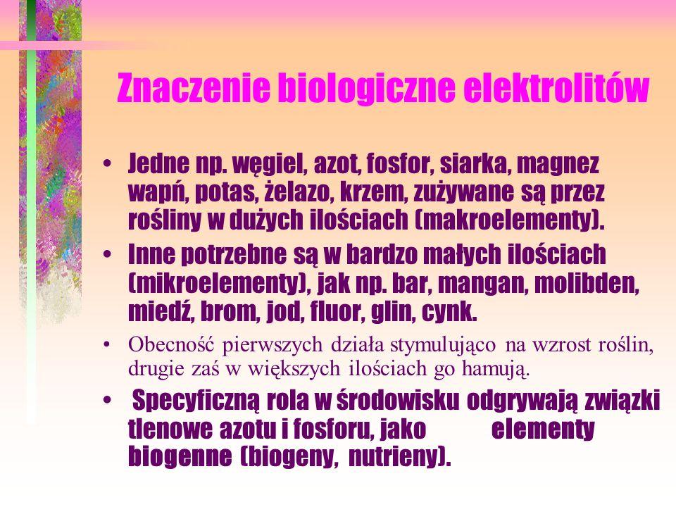 Znaczenie biologiczne elektrolitów