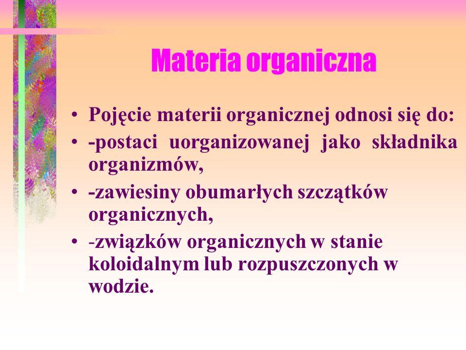 Materia organiczna Pojęcie materii organicznej odnosi się do: