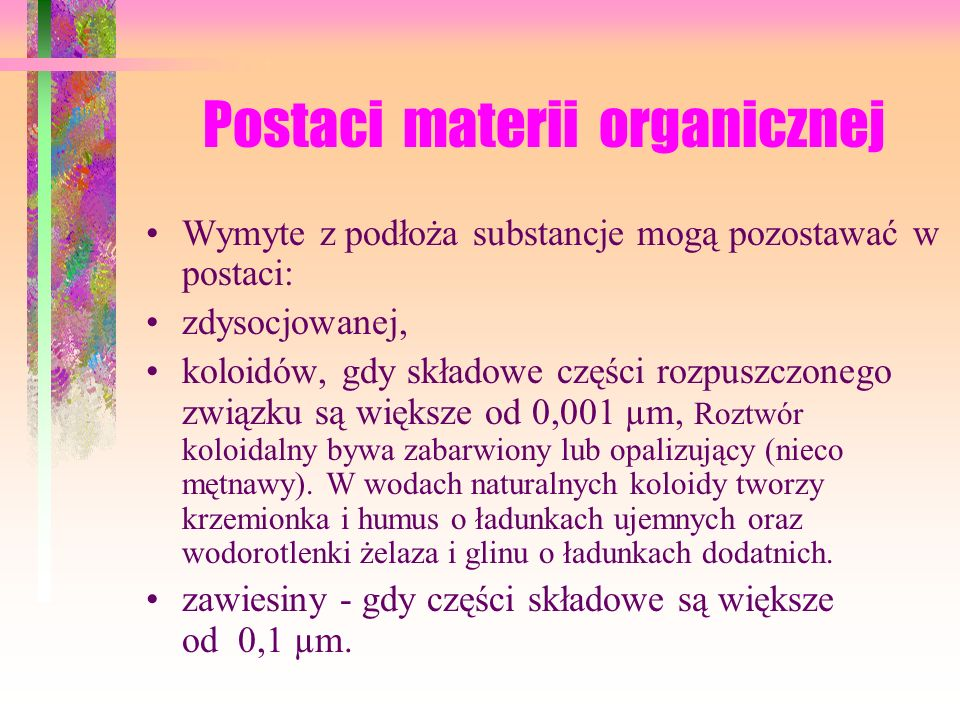 Postaci materii organicznej