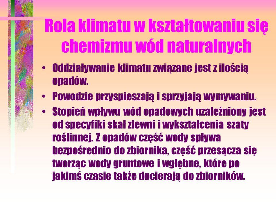 Rola klimatu w kształtowaniu się chemizmu wód naturalnych