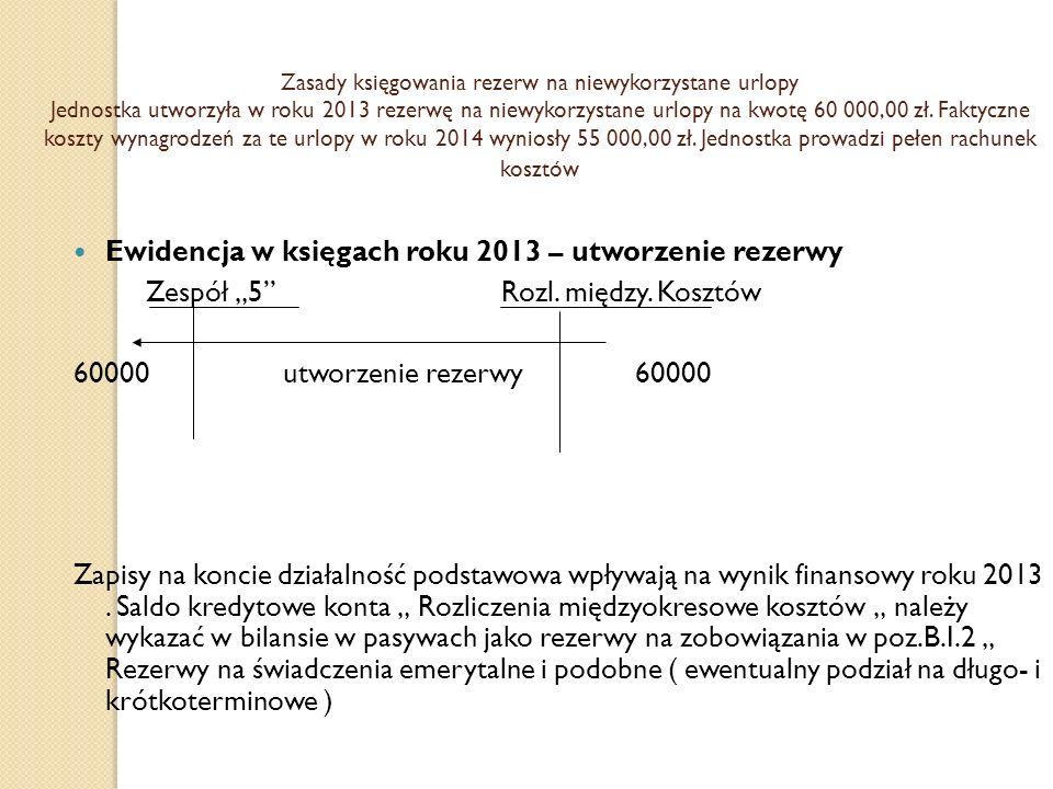 Ewidencja w księgach roku 2013 – utworzenie rezerwy