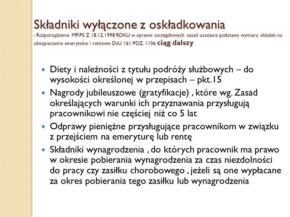 Składniki wyłączone z oskładkowania ( Rozporządzenie MPiPS Z 18. 12