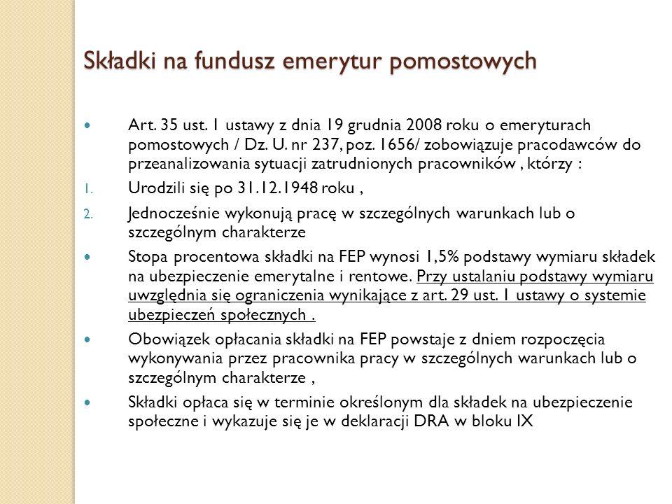 Składki na fundusz emerytur pomostowych