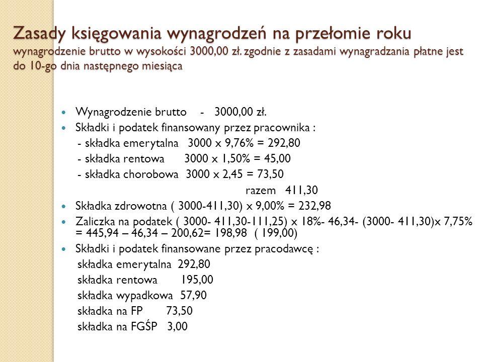 Zasady księgowania wynagrodzeń na przełomie roku wynagrodzenie brutto w wysokości 3000,00 zł. zgodnie z zasadami wynagradzania płatne jest do 10-go dnia następnego miesiąca