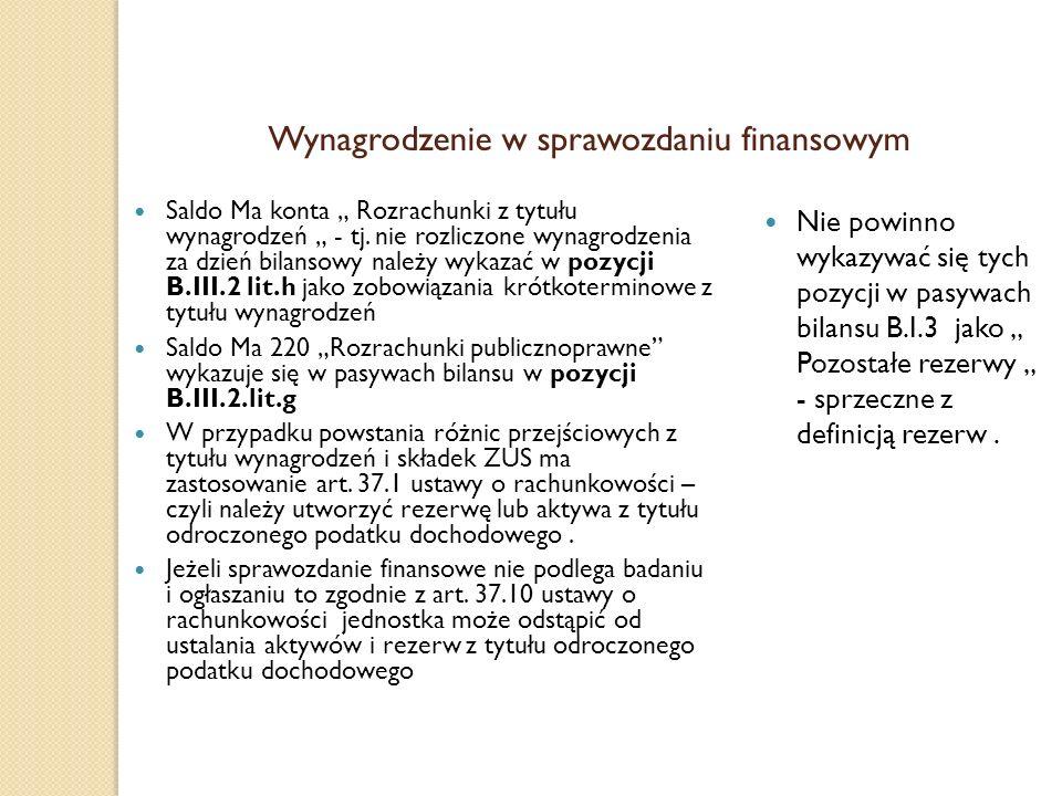 Wynagrodzenie w sprawozdaniu finansowym