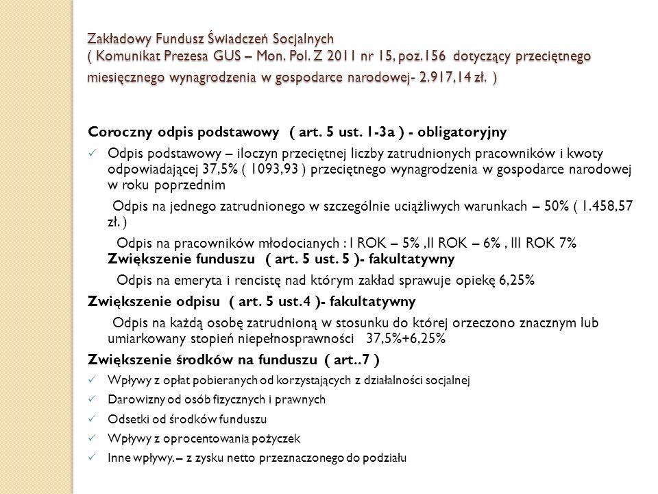 Coroczny odpis podstawowy ( art. 5 ust. 1-3a ) - obligatoryjny