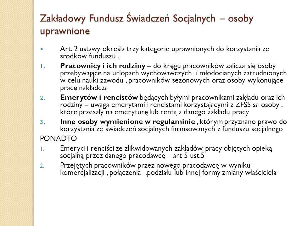 Zakładowy Fundusz Świadczeń Socjalnych – osoby uprawnione
