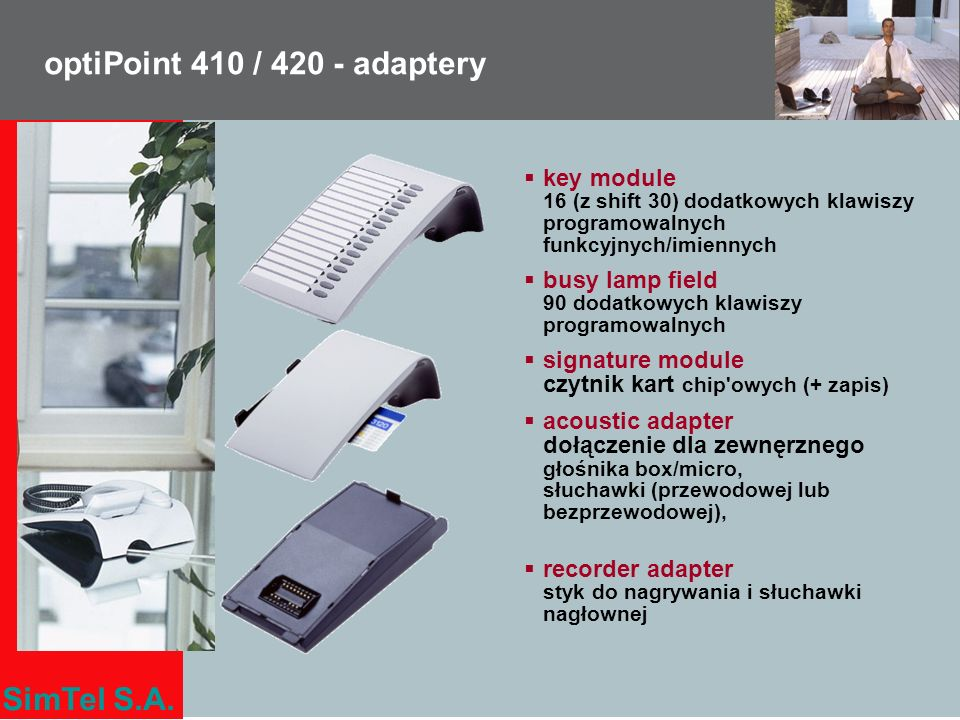 optiPoint 410 / 420 - adaptery key module 16 (z shift 30) dodatkowych klawiszy programowalnych funkcyjnych/imiennych.