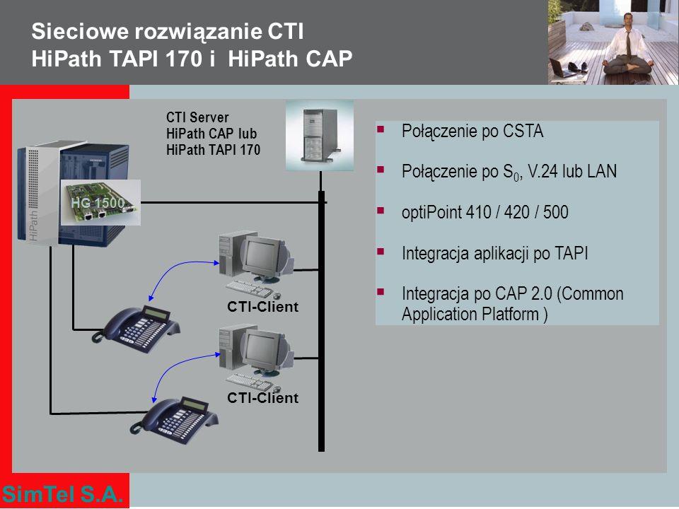 Sieciowe rozwiązanie CTI HiPath TAPI 170 i HiPath CAP