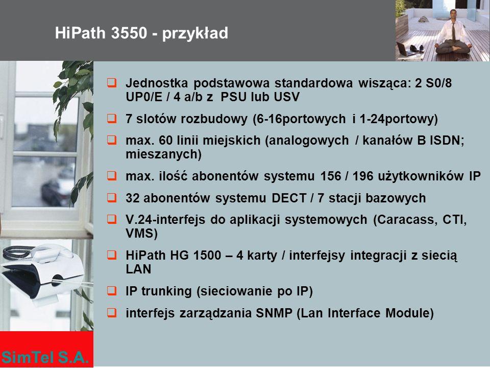 HiPath 3550 - przykład Jednostka podstawowa standardowa wisząca: 2 S0/8 UP0/E / 4 a/b z PSU lub USV.